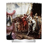 Afghan Hound-the Reverance To The Queen Canvas Fine Art Print Shower Curtain