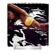 African American Woman In Bikini Lying In Black Water Shower Curtain