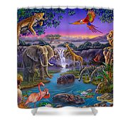 African Animals At The Water Hole Shower Curtain