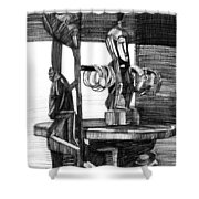 African Carved Statues Shower Curtain