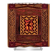 African Collage Rust Shower Curtain