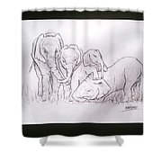 African Elephant Family Shower Curtain