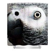 African Gray Parrot Art - Softy Shower Curtain
