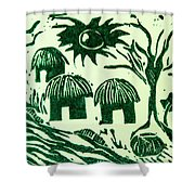 African Huts Shower Curtain by Caroline Street