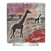 African Landscape Giraffe And Banya Tree At Watering Hole With Mountain And Sunset Grasses Shrubs Sa Shower Curtain