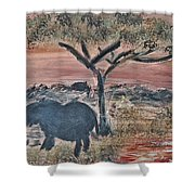 African Landscape With Elephant And Banya Tree At Watering Hole With Mountain And Sunset Grasses Shr Shower Curtain