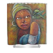 African Woman Portrait- African Paintings Shower Curtain