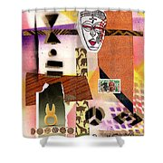 Afro Collage - E Shower Curtain