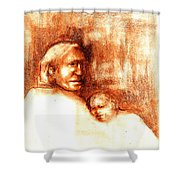 After Geronimo Shower Curtain by Johanna Elik