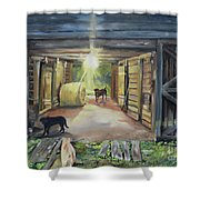 After Hours In Pa's Barn - Barn Lights - Labs Shower Curtain