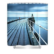 After The Shower Over Whitby Pier Shower Curtain
