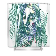 After Vermeer - Face Of Woman Holding A Balance Shower Curtain