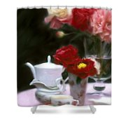 Afternnon Tea With Peonies Shower Curtain