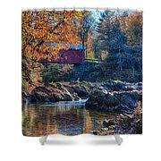 Afternoon Autumn Sun On Vermont Covered Bridge Shower Curtain