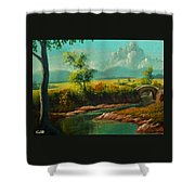 Afternoon By The River With Peaceful Landscape L A S Shower Curtain