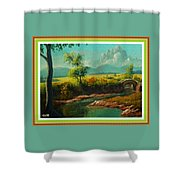 Afternoon By The River With Peaceful Landscape L A S With Decorative Ornate Printed Frame. Shower Curtain