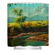Afternoon By The River With Peaceful Landscape L B Shower Curtain