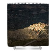 Afternoon Sun Lighting Up Village Of Speloncato In Corsica Shower Curtain