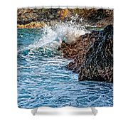 Against The Rocks Shower Curtain