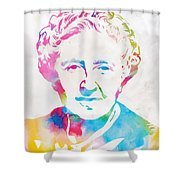 Agatha Christie Watercolor Tribute Shower Curtain