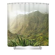 Agave Plants And Rocky Mountains. Santo Antao. Shower Curtain