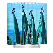 Agave With Sparrows Shower Curtain
