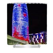 Agbar Tower In Barcelona Shower Curtain