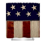 Aged Rustic American Flag Shower Curtain