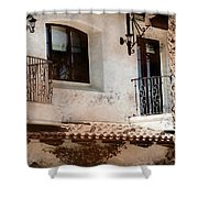 Aged Stucco Building Balcony With Terracotta Roof Shower Curtain