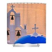 Aghioi Theodoroi Church At Firostefani, Santorini Shower Curtain