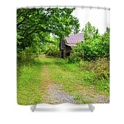 Aging Barn In Woods Shower Curtain