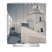 Agios Minas Santorini Bw Shower Curtain