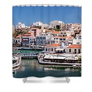 Agios Nikolaos Lagoon Entrance Shower Curtain
