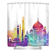 Agra Landmarks Watercolor Poster Shower Curtain