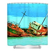 Aground Off Jamaica Shower Curtain