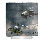 Ah-64 Apache Attack Helicopter In Flight Shower Curtain by Randy Steele