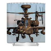 Ah64 Apache Flying Shower Curtain by Ken Brannen