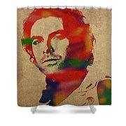 Aidan Turner As Poldark Watercolor Portrait Shower Curtain