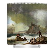 Ailing Ships On Rocks Shower Curtain