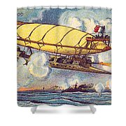 Air Battle, 1900s French Postcard Shower Curtain