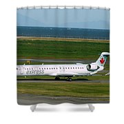 Air Canada Express Crj Taxis Into The Terminal Shower Curtain