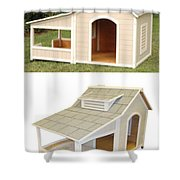 Air Conditioned Dog Houses Shower Curtain