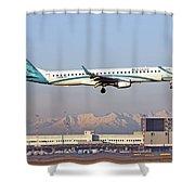 Air Dolomiti, Embraer Erj-195 Shower Curtain