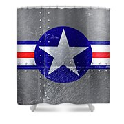 Air Force Logo On Riveted Steel Plane Fuselage Shower Curtain