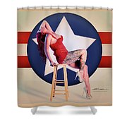 Air Force Pinup With Calypso Jean Shower Curtain