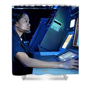 Air Traffic Controller Monitors Marine Shower Curtain by Stocktrek Images