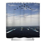 Aircraft Fly Over A Group Of U.s Shower Curtain