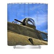 Aircraft Top Machine Gun Shower Curtain