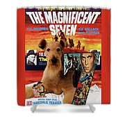 Airedale Terrier Art Canvas Print - The Magnificent Seven Movie Poster Shower Curtain