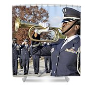 Airman Plays Taps During The Veterans Shower Curtain by Stocktrek Images